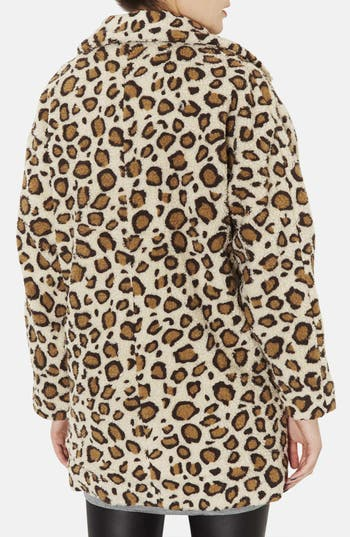 Alternate Image 2  - Topshop Leopard Borg Coat