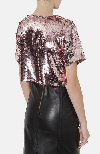 Alternate Image 2  - Topshop Sequin Crop Tee