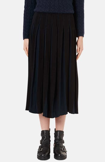 Main Image - Topshop Boutique Pleated Two-Tone Midi Skirt