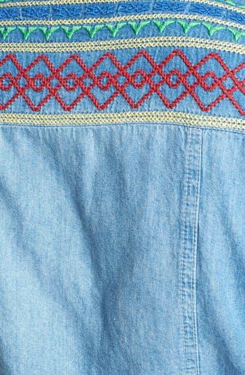 Alternate Image 3  - PPLA Embroidered Yoke Sleeveless Denim Shirt (Juniors)