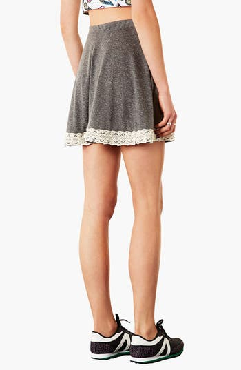 Alternate Image 2  - Topshop Lace Hem Skater Skirt