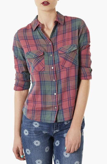 Alternate Image 1 Selected - Topshop 'Maggie Santorini' Check Print Shirt