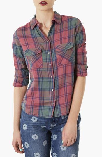 Main Image - Topshop 'Maggie Santorini' Check Print Shirt