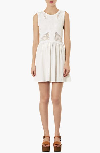 Main Image - Topshop Lace Illusion Bodice Skater Dress