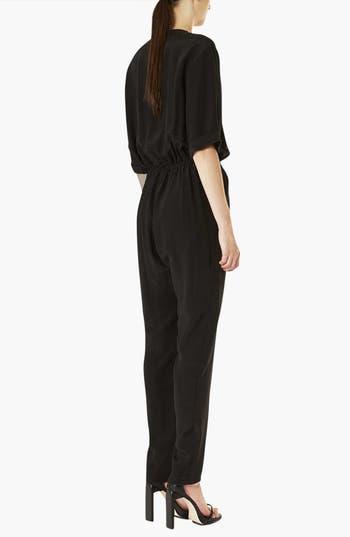 Alternate Image 2  - Topshop Boutique 'Linda' Silk Surplice Jumpsuit
