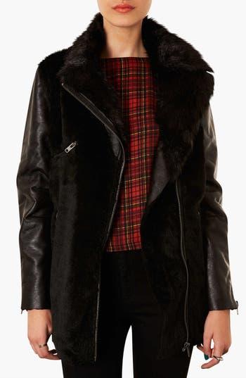Main Image - Topshop Faux Fur Biker Jacket