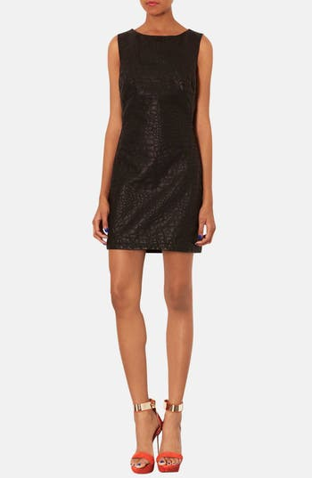 Alternate Image 1 Selected - Topshop Quilted Faux Leather Shift Dress