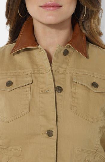 Alternate Image 3  - Lauren Ralph Lauren Leather Collar Jean Jacket (Petite)