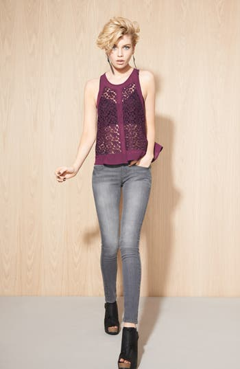 Alternate Image 4  - ASTR Woven Flower Tank Top