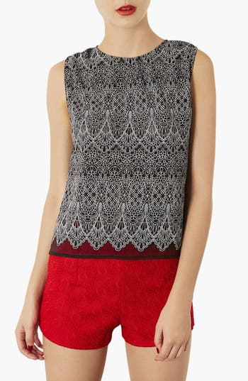 Main Image - Topshop Floral Lace Sleeveless Top