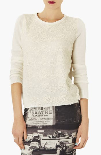 Alternate Image 1 Selected - Topshop Lace Overlay Knit Sweater