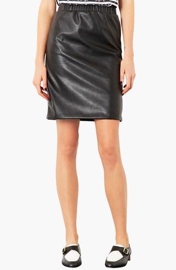 Main Image - Topshop Elastic Waist Faux Leather Pencil Skirt