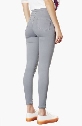 Alternate Image 2  - Topshop Moto 'Joni' High Rise Skinny Jeans (Grey) (Short)