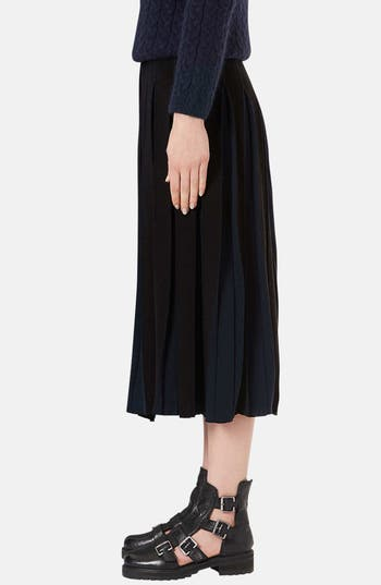 Alternate Image 4  - Topshop Boutique Pleated Two-Tone Midi Skirt