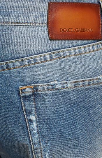 Alternate Image 4  - Dolce&Gabbana Slim Fit Destroyed Jeans (Blue)