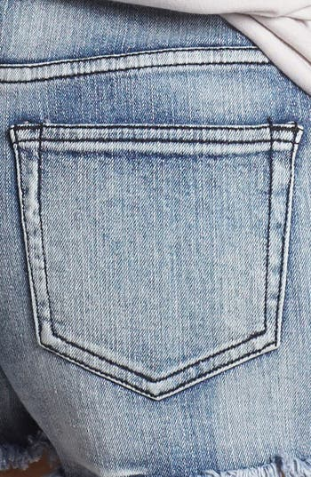 Alternate Image 3  - Fire Studded High Waist Denim Cutoffs (Medium) (Juniors)