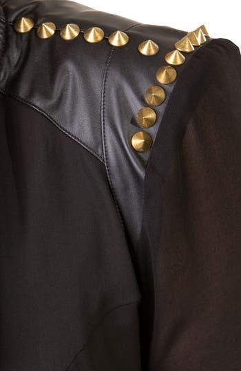 Alternate Image 2  - City Chic Studded Mixed Media Moto Jacket (Plus Size)
