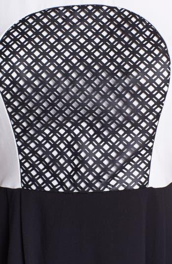 Alternate Image 3  - kensie Laser Cut Faux Leather Inset Colorblock Dress
