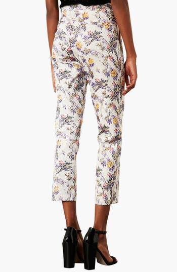Alternate Image 2  - Topshop Floral Jacquard Crop Trousers