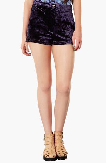 Main Image - Topshop Crushed Velvet Shorts