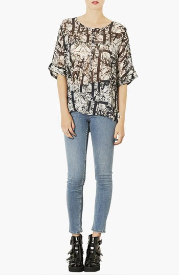 Alternate Image 4  - Topshop 'Cracked Woodland' Print Chiffon Tee