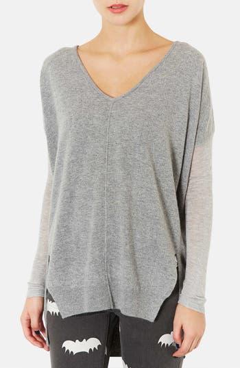 Main Image - Topshop Mixed Media Drop Shoulder Sweater