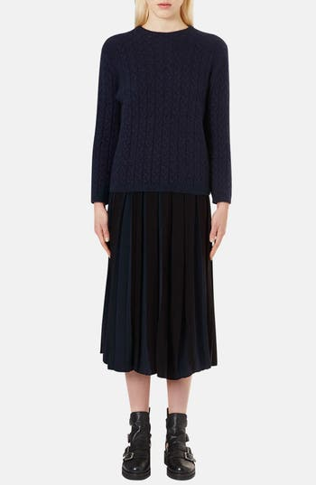 Alternate Image 5  - Topshop Boutique Pleated Two-Tone Midi Skirt