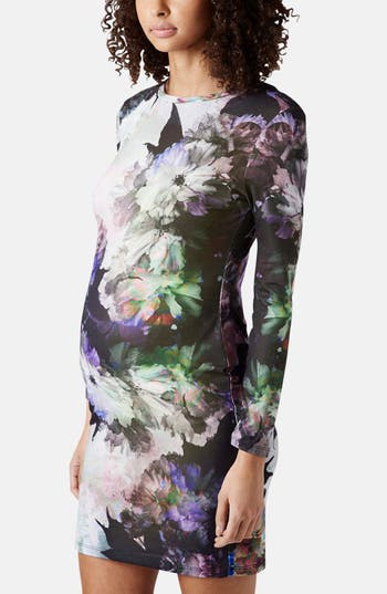 Alternate Image 1 Selected - Topshop 'Digifloral' Print Body-Con Maternity Dress