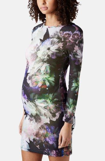 Main Image - Topshop 'Digifloral' Print Body-Con Maternity Dress