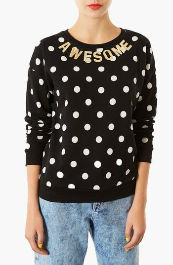 Alternate Image 1 Selected - Topshop Spotted Slogan Sweatshirt