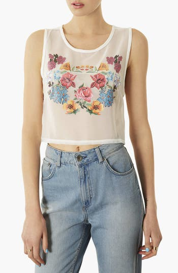 Alternate Image 1 Selected - Topshop 'Floral Transfer' Print Crop Tank