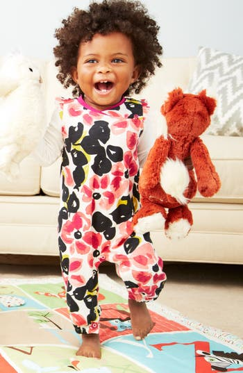 Alternate Image 1 Selected - Tea Collection Romper & Jellycat Stuffed Animal (Baby Girls)