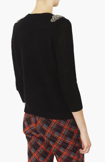 Alternate Image 2  - Topshop Embellished Shoulder Open Knit Sweater