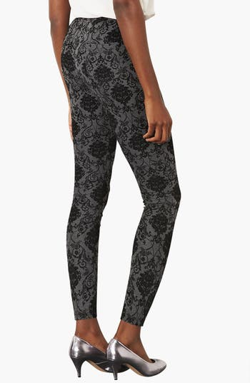 Alternate Image 2  - Topshop High Waist Damask Flocked Leggings