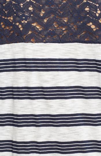 Alternate Image 3  - Elodie Lace Yoke Stripe Oversized Tee (Juniors)