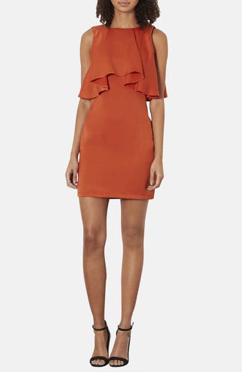 Alternate Image 1 Selected - Topshop Ruffled Bodice Satin Body-Con Dress