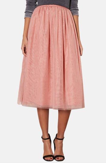 Main Image - Topshop Pleated Mesh Midi Skirt