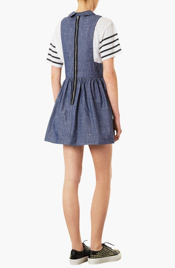 Alternate Image 2  - Topshop Chambray Pinafore Dress