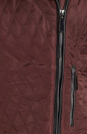 Alternate Image 3  - Vince Camuto Leather & Quilted Fabric Moto Jacket (Online Only)