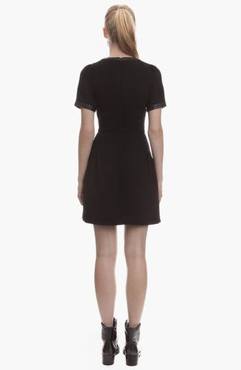 Alternate Image 2  - sandro 'Rose' Leather Detail A-Line Dress