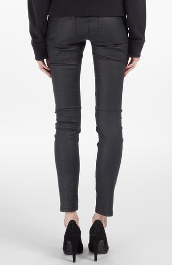 Alternate Image 2  - maje 'Samir' Coated Skinny Jeans (Marine)