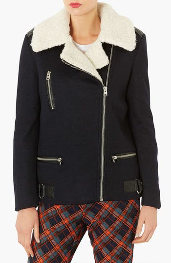 Alternate Image 1 Selected - Topshop Wool Biker Jacket