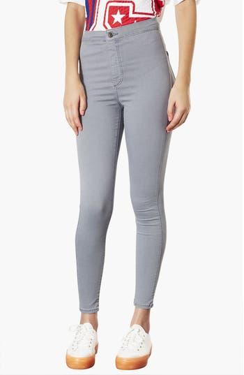 Main Image - Topshop Moto 'Joni' High Rise Skinny Jeans (Grey) (Short)