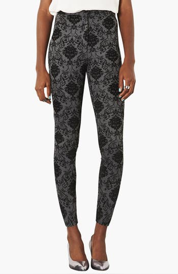 Main Image - Topshop High Waist Damask Flocked Leggings
