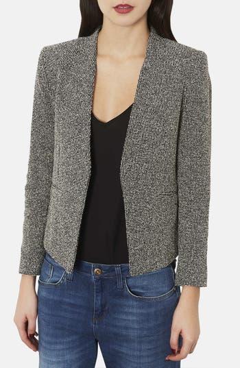 Alternate Image 1 Selected - Topshop 'Bonnie' Collarless Textured Blazer (Petite)