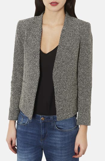 Main Image - Topshop 'Bonnie' Collarless Textured Blazer (Petite)