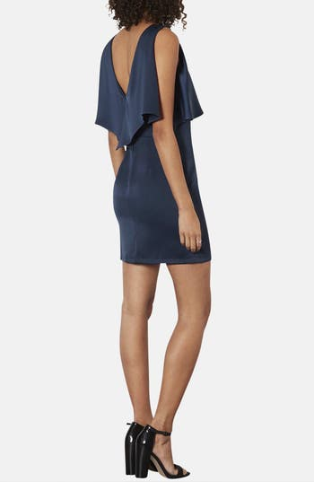 Alternate Image 2  - Topshop Ruffled Bodice Satin Body-Con Dress