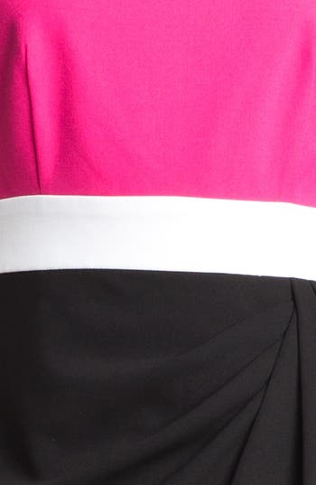 Alternate Image 3  - Calvin Klein Colorblock Side Drape Sheath Dress (Petite)