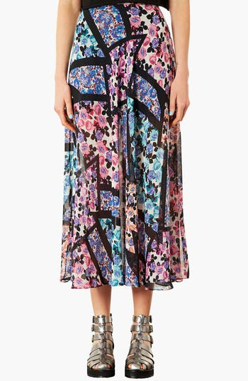 Main Image - Topshop 'Cut About' Floral Maxi Skirt