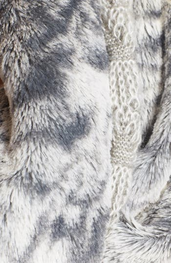 Alternate Image 2  - Collection XIIX 'Shell Stitch' Knit Infinity Scarf with Faux Fur
